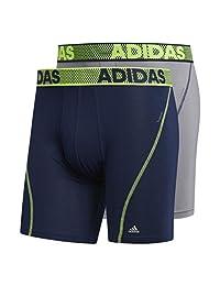 adidas 阿迪达斯男式运动性能 Climacool 平角内裤(2 条装),学院*蓝/宝蓝色,中号