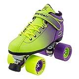 全新款适用于2017riedell 弹双色渐变色 Quad 滚筒 SPEED Skate 青年和成人尺寸–霓虹绿 & 紫色