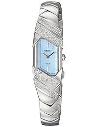 SEIKO 女式 tressia 太阳能 silvertone 手表,珍珠母表盘和钻石点缀 海外卖家直邮