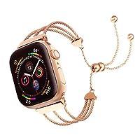 Junwei 不锈钢表带替换表带适用于 Apple Watch 系列 5 4 3 金属表带男士女士磁疗手链带钻石金属扣带 适用于 iWatch 38mm / 40mm Tassel-Rose
