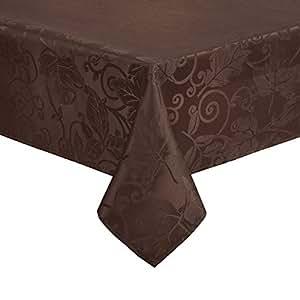 Nantucket 秋季桌布叶和卷轴适用于厨房和餐桌,收获锦缎纯色适合秋季和感恩节染色,液体溢出珠 巧克力棕色 52 x 70 Rectangle