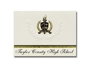 签名公告 Taylor County 高中(Cambellsville,KY)毕业宣布,总统风格,25 精英包装带金色和黑色金属箔印章