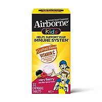 Schiff 旭福 Airborne 维生素C 1000毫克-Airborne儿童浆果咀嚼片(一盒32粒),无麸质支持补充剂和富含抗氧化剂