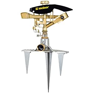 Melnor Impact Sprinker; Pulsating Action; Metal Head with 3-Pronged Step-Spike; Waters up to 106' Diamter