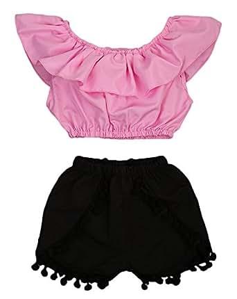 Happy Town 可爱女婴短袖衬衫抹胸上衣 + 高腰毛球短裤(粉红色#1,18-24 个月)