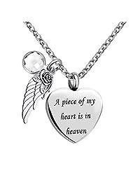 TGLS 纪念珠宝天使翅膀魅力心形爱 12 种颜色的诞生石火葬骨灰盒项链与填充工具- A Piece of My Heart is in Heaven