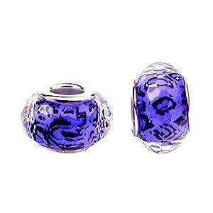 Bling Stars 花朵光芒果 穆拉诺玻璃珠 适合潘多拉魅力手镯 浅紫色 43216-33758
