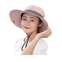 SUNLAND 女式钓鱼帽宽边太阳帽太阳紫外线防护渔夫帽波龙帽 Safari 夏季海滩户外钓鱼狩猎沙漠夏威夷