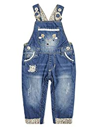 Kidscool Space 女婴可轻松更换尿布按扣腿部鹿刺绣牛仔裤连体裤