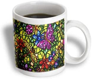 3dRose Vintage Stained Glass Bird n Flowers - Ceramic Mug, 15-ounce (mug_43724_2)