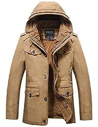 j-sun-7男式冬季加厚棉羽绒外套大衣外套可拆卸风帽