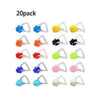 xcpmm 20 硅胶游泳鼻夹,防水硅胶游泳鼻夹,适用于儿童和成人游泳和训练(10 色)