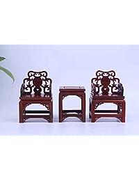 寒木椿华 酸枝迷你小家具红木小圈椅三件套皇冠椅 太师椅 小摆件家居工艺礼品 (太师椅)