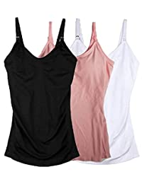 3 件装 3 种款式夹式双开口孕妇护理背心和吊带衫适合母亲哺乳期的衣服