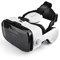 虚拟现实耳机,Osloon 3D VR 眼镜,带立体耳机,兼容 4.7-6.2 英寸 iPhone/Android Phone,包括 iPhone XS/X/8/8Plus/7/7Plus/6/6Plus/6s/5,三星,LG,Nexus 等