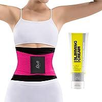 Slim Abs 女士束腰运动腰带,带塑身霜 - 束腰修剪器和发热健身凝胶