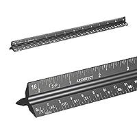 建筑比例尺尺尺尺(激光蚀刻)实心铝芯 30.48 厘米三角形建筑标尺带皇家测量 黑色 Architect Scale SP1024