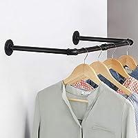 工业铁管衣服衣架重型多功能衣物挂架壁挂式衣杆适用于衣柜洗衣房阳台黑色