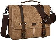 男式防水蜡帆布公文包挎包单肩包粗糙皮革电脑笔记本电脑包 BC-01 棕色 中