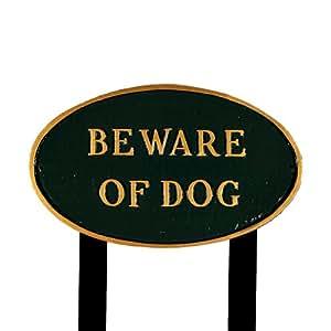 Montague Metal Products Beware of Dog 椭圆草坪牌匾 大 绿色 SP-5L-HGG-LS