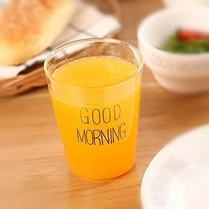 ZaH Good Morning 玻璃清洁水杯 适用于牛奶水茶咖啡 400ml 5 盎司 黑色 标准 1