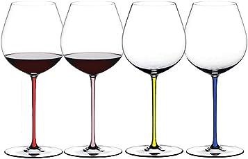 RIEDEL醴铎勃艮第手工红酒杯4900/07R 水晶玻璃透明高脚杯红色杆半手工杯红葡萄酒杯单只价(亚马逊自营商品, 由供应商配送)