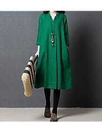 新款复古刺绣棉麻连衣裙中长款宽松文艺袍子