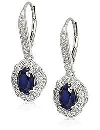 镀铂金纯银椭圆形蓝宝石复古风格 Swarovski 氧化锆点缀吊坠耳环