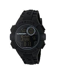 superdry 男式 ' 雷达 ' 石英塑料和硅胶连衣裙手表,颜色:黑色(型号: syg193b )