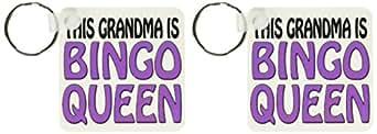 3dRose This Grandma Is Bingo Queen,紫色,钥匙链,2 件套 (kc_149773_1)