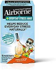 Airborne Everyday Stress Away 維生素 C  + L-茶氨酸 & B 族維生素,熱情橙子口味混合營養粉(每盒16包 ),有助于自然減輕