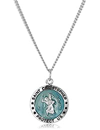 """Men's Stainless Steel Necklace with Sterling Silver St. Christopher Pendant, 20"""""""