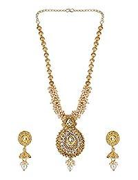 Efulgenz 印*安宝莱坞传统 14 K 镀金人造水钻水晶颈圈项链耳环 Maang Tikka 珠宝套装 金色