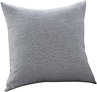 """Jepeak Cotton Linen Blend Square Throw Pillow Covers Decorative Soft Pillow Case Cushion Cover for Sofa - 24"""" x 24"""", Silver Grey"""