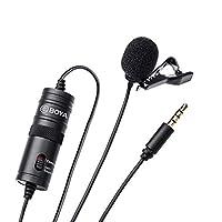 BOYA BY-M1 3.5 毫米薰衣草麦克风,适用于智能手机和佳能/尼康相机 - 黑色