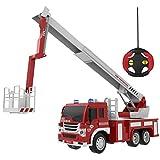 遥控消防车 RC 救援消防卡车 车辆学习教育玩具 1:16 模拟 带灯 6 轮电池 红色和白色