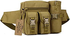 ArcEnCiel Tactical Waist Pack Pouch With Water Bottle Pocket Holder Molle Fanny Hip Belt Bag (Coyote Brown)