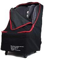 Simple Being 婴儿汽车*座椅旅行袋,婴儿背带助推器保护套 适用于航空旅行 Black with Wheels