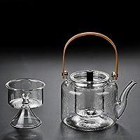 Prointxp普智 加厚玻璃煮茶壶 烧水壶泡茶壶 耐高温耐热蒸茶器 竹把提梁烧水壶 手工提梁壶 电陶炉专用玻璃煮茶壶 (锤目纹款玻璃提梁壶)