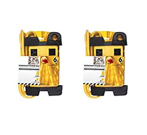 Prime Wire & Cable PB801130-2-PK 8-Outlet 5+3 Metal Shop Box with 6-Feet Cord and Cord Wrap, 2-Pack, Yellow