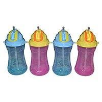 Sharebear 吸管杯 - 内置吸管杯,不含 BPA - 防漏 - 可用洗碗机清洗 - 幼儿和儿童喜爱这些杯子。 *佳杯子 - 4 只装 12 盎司。