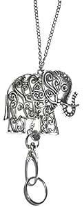 隐藏空心串珠时尚女士挂绳项链和身份牌架,86.36 厘米长,钥匙和徽章 大象灰