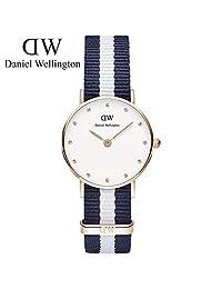 丹尼尔惠灵顿(Daniel Wellington)手表DW女表26mm表盘金色边尼龙带超薄女士石英表Classy系列 瑞典品牌 专柜同款 (蓝白两色尼龙金色边)