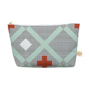 """Kess InHouse Everything Bag Tapered Pouch by  Pellerina Design """"Mint Lattice Weave"""" Gray Mint, 12.5 x 7 Inches (AH2008AEP04)"""