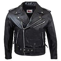 German Wear 皮質騎行夾克,帶側邊系帶 - 黑色 48 (EU) 黑色 GW412J Black Schwarz 48