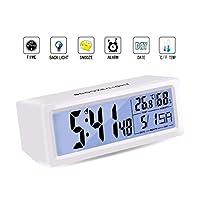 数字闹钟床边 - Sendida 桌子 LCD 时钟电池供电用于卧室旅行数字响铃时钟触摸传感器闹钟 儿童重型*时间日期月温度适合卧室。