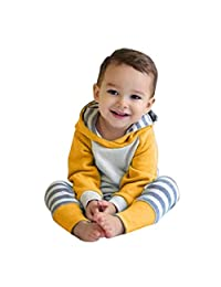 Newborn Baby Boys Girls Clothes Long Sleeve Breathable Hoodie Tops Stripe Pants with Headband Outfits Set