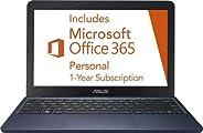 华硕 Vivobook 超薄轻型 11.6 英寸高清笔记本电脑,Intel Celeron N4000 高达 2.6GHz、32GB eMMC 存储、网络摄像头、802.11AC Wi-Fi、HDMI、USB-C、Windows 10TBCL432B
