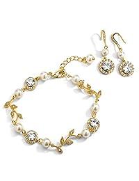 Mariell 14K 金藤蔓和象牙色珍珠方晶锆石新娘手镯和耳环套装 - 伴娘婚礼首饰