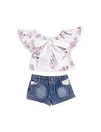 ailom 可爱2件套幼儿女婴花卉流苏蝴蝶结上衣 + 口袋短款牛仔长裤夏款套装